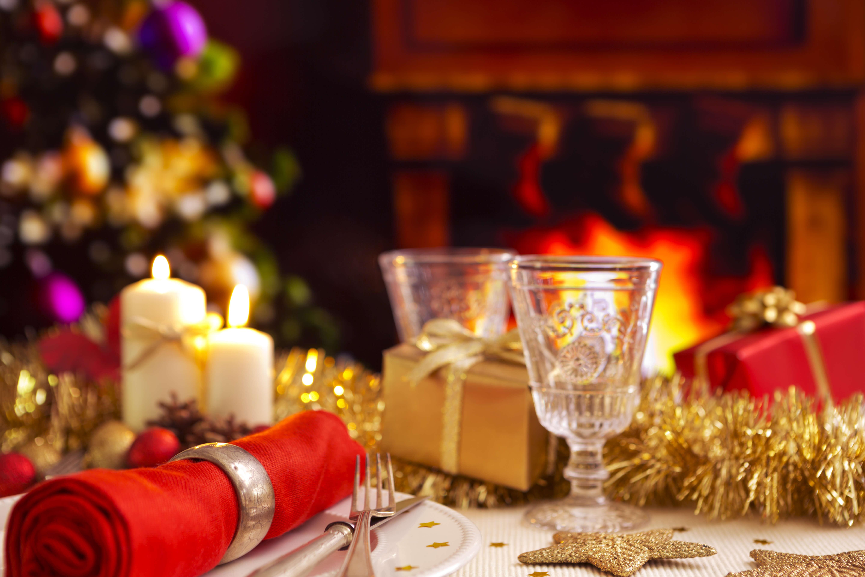 christmas table with a fireplace and christmas tree english