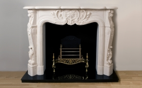 Louis Pompadour Limestone Fireplace