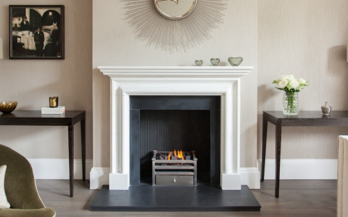 The Bolection marble fireplace is a hand carved Queen Anne design and one of the most popular models we have. Also available in limestone or sandstone.