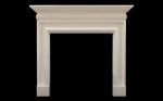 Bolection With Cushion Limestone Fireplace